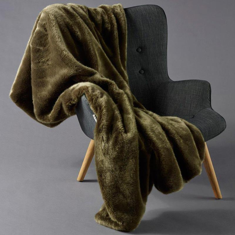 Olive Faux Fur and Velvet Throw