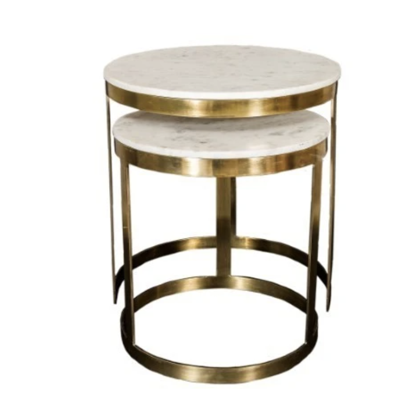 Bella Side Table Brass Marble Top Set/2