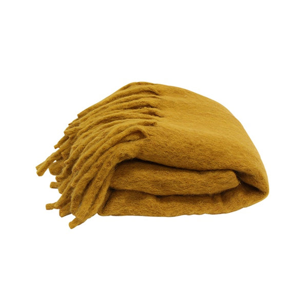 Solid Fringed Mustard Throw