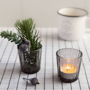 Fluted Tea Light Holder Grey