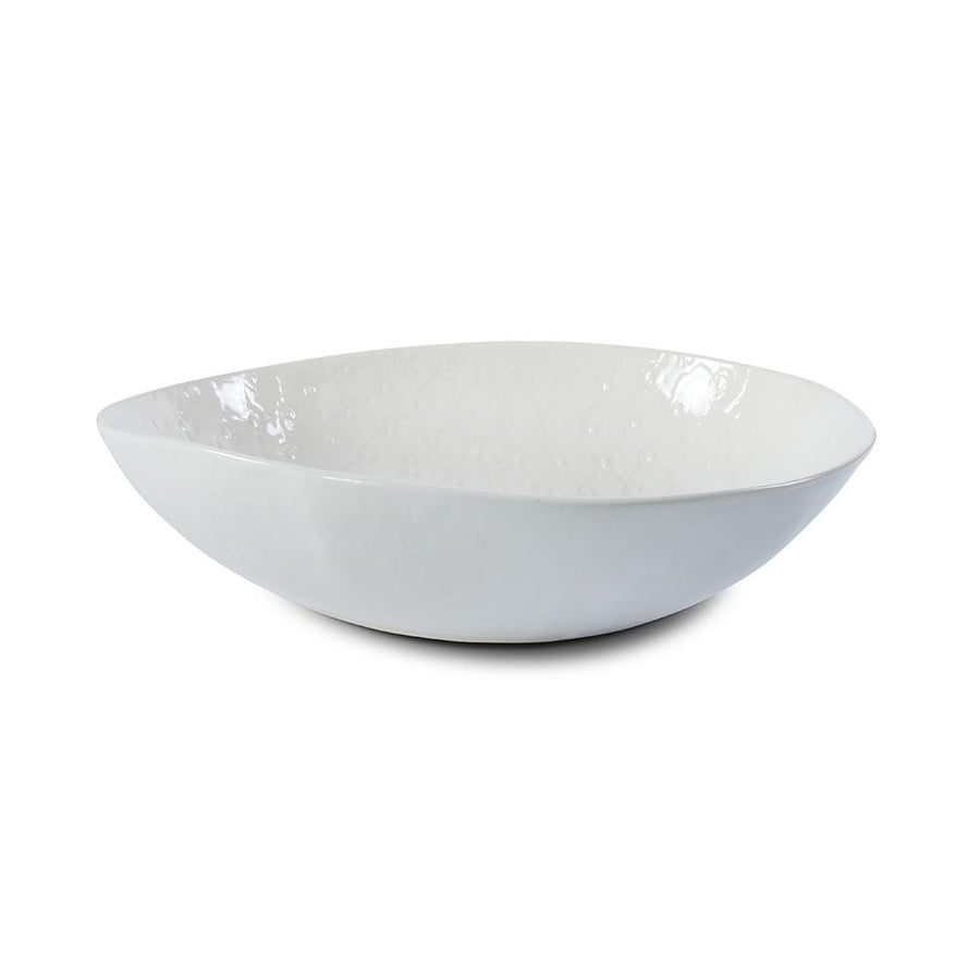 Large Pebble Salad Bowl White Lace