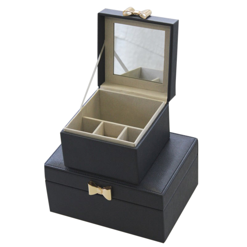 Navy Jewel Box w/ Gold Bow