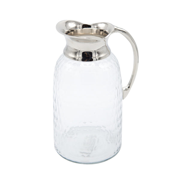 Hex Cut Glass Jug w/ silver spout