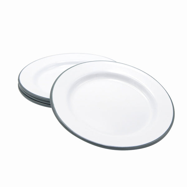 Enamel Side Plate White/Grey Rim