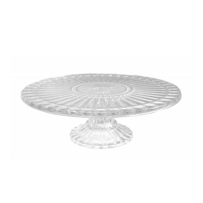 Ribbed Cake Plate Clear