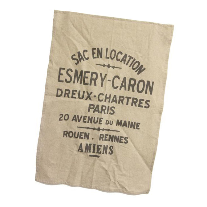 French Words Linen Tea Towel