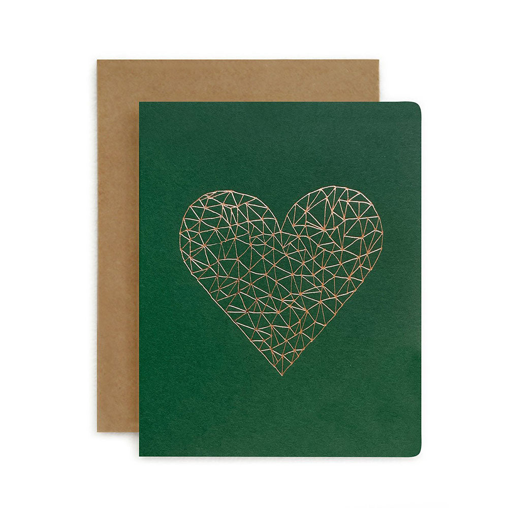 Geometric Green Heart Card