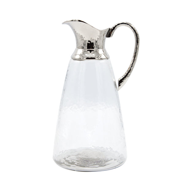 Hammered Glass jug w/silver spout