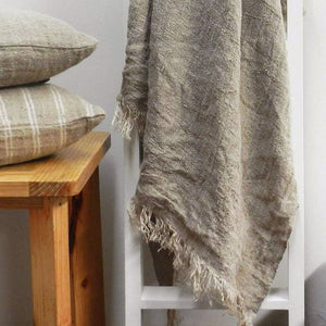 Hand loomed linen throw 130x190cm