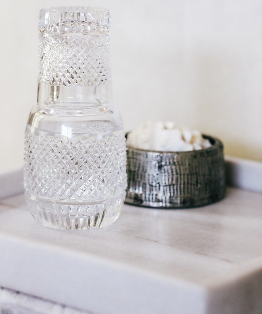 Crystal Bedside water Carafe w/tumbler
