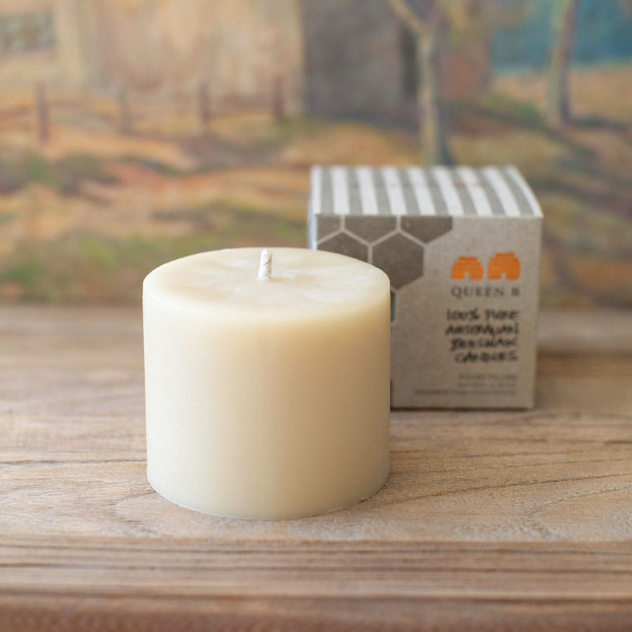 Beeswax Squat Pillar Candle