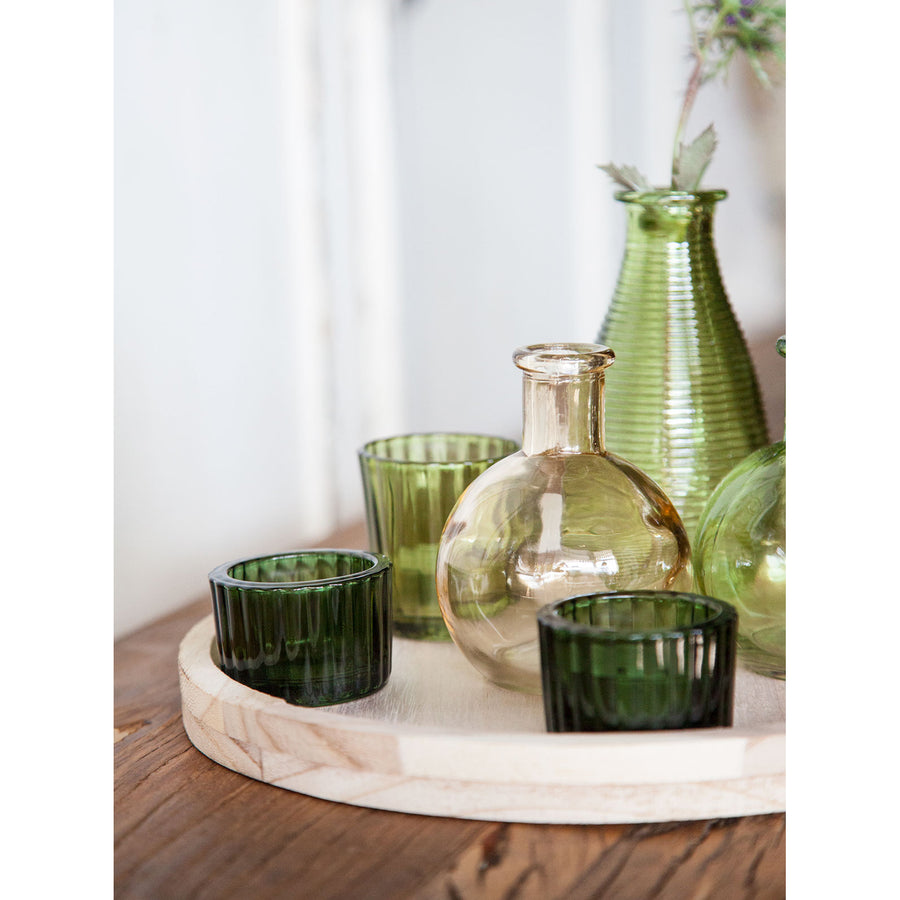 Round Wooden Tray with Green Glass Votives