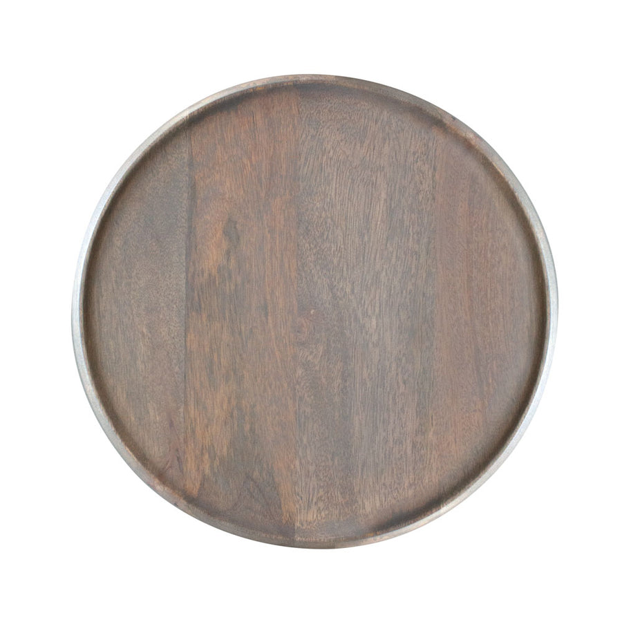 Mangowood Serving Board Round Grey