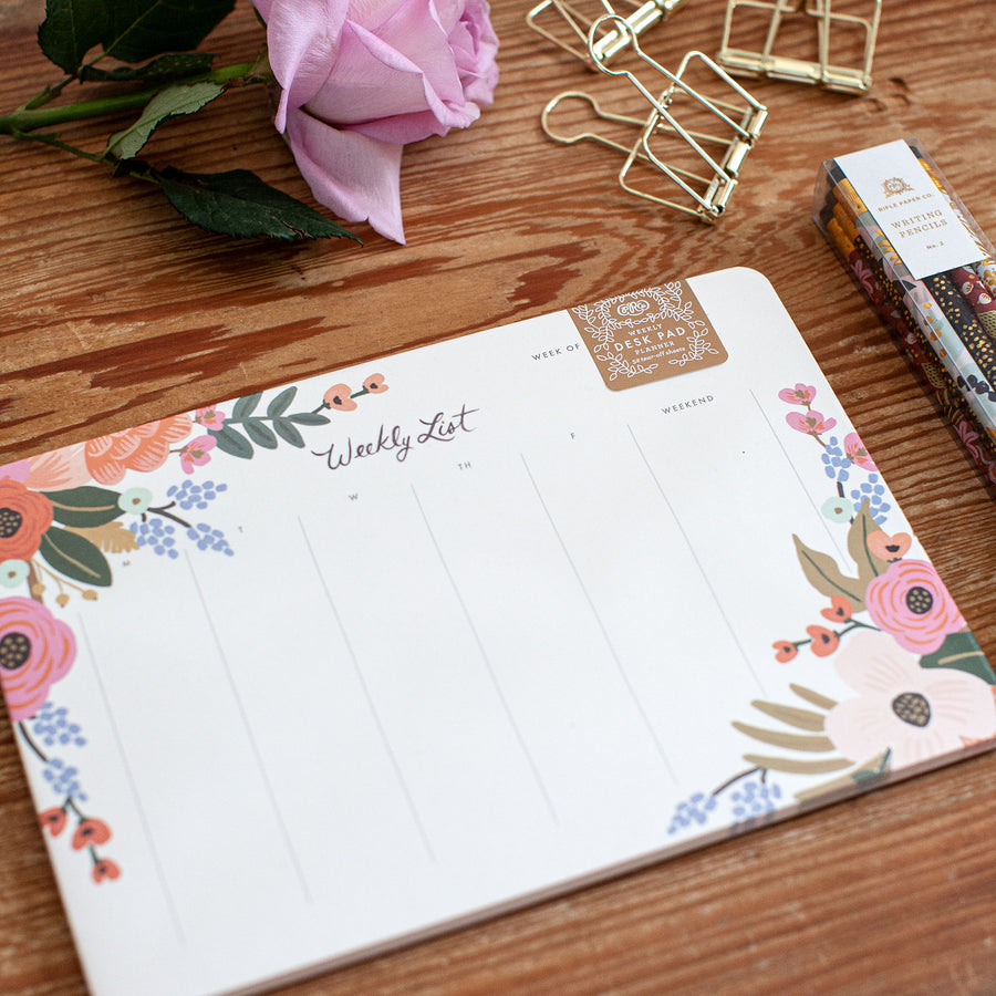Weekly Desk Pad Lively Floral