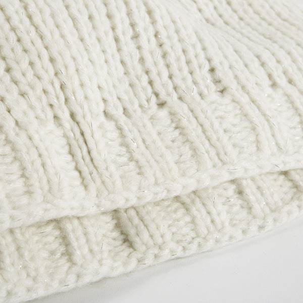 Cream with Silver Knit Throw
