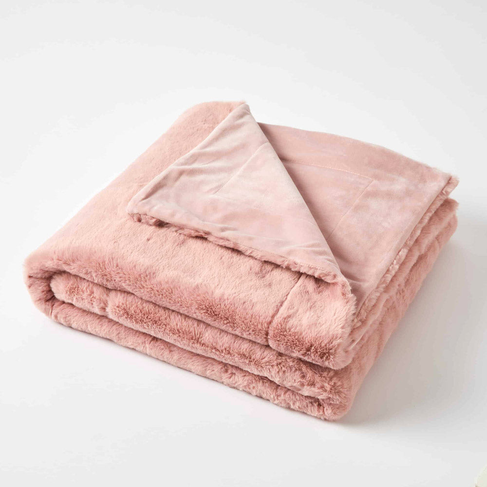Pink Faux Fur Throw