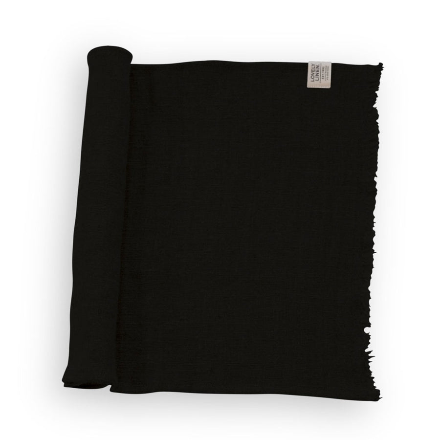 Frayed Edge Rustic Runner Black