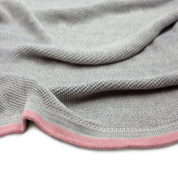 Grey Moss Knit with Blossom Stripe