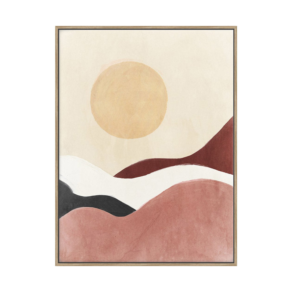 Framed canvas wall art featuring sun and dunes.