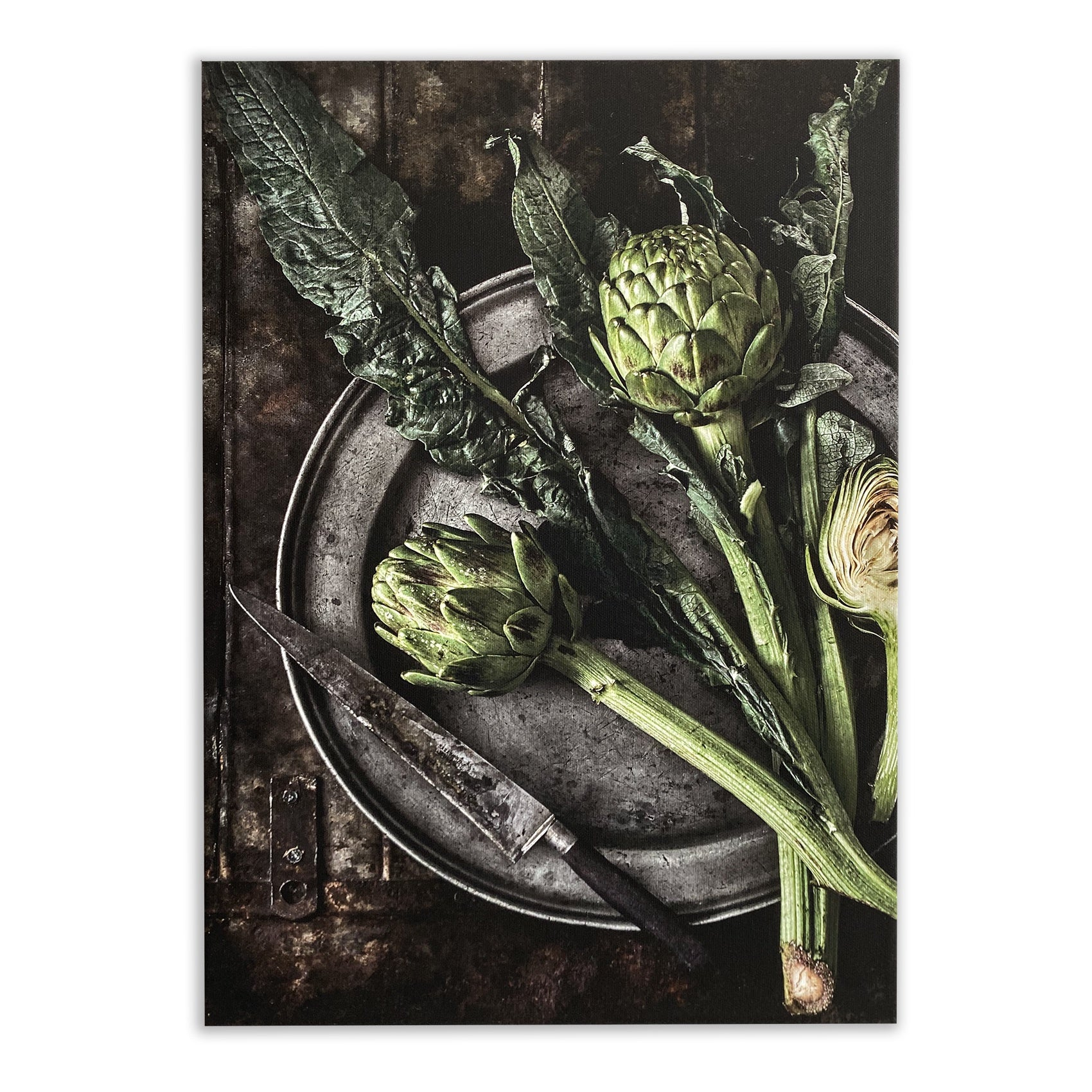 Artichokes on Plate Canvas Print