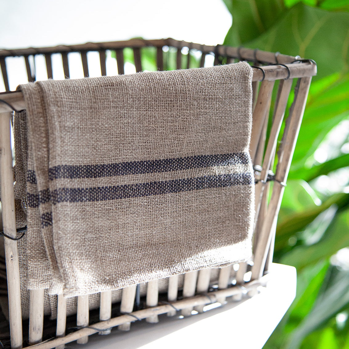 Linen Blue Stripe Tea Towel