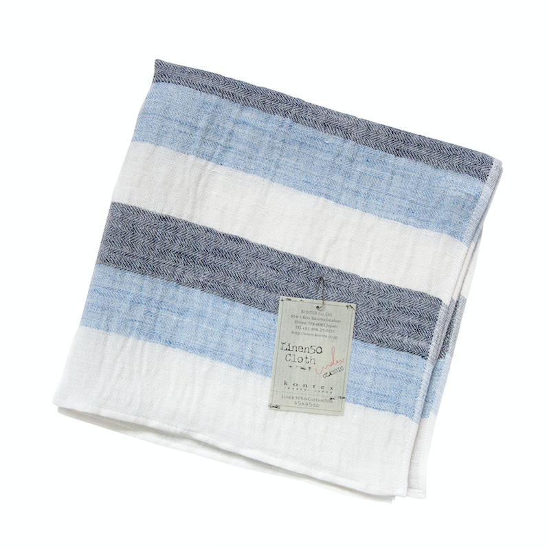Linen50 Blue Stripe Hand Towel