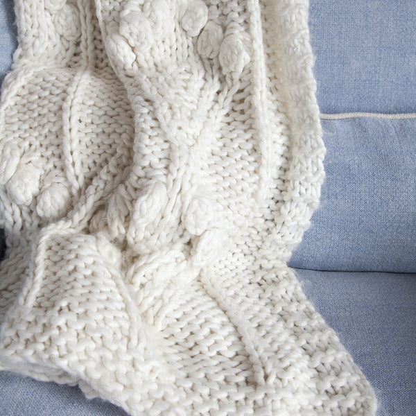Cream Knit Bauble Throw