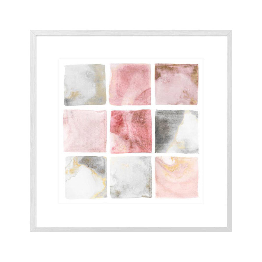 abstract watercolour painting of squares in a white frame.