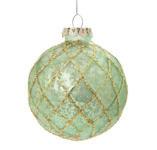 Vintage Glass Bauble Green Diamond