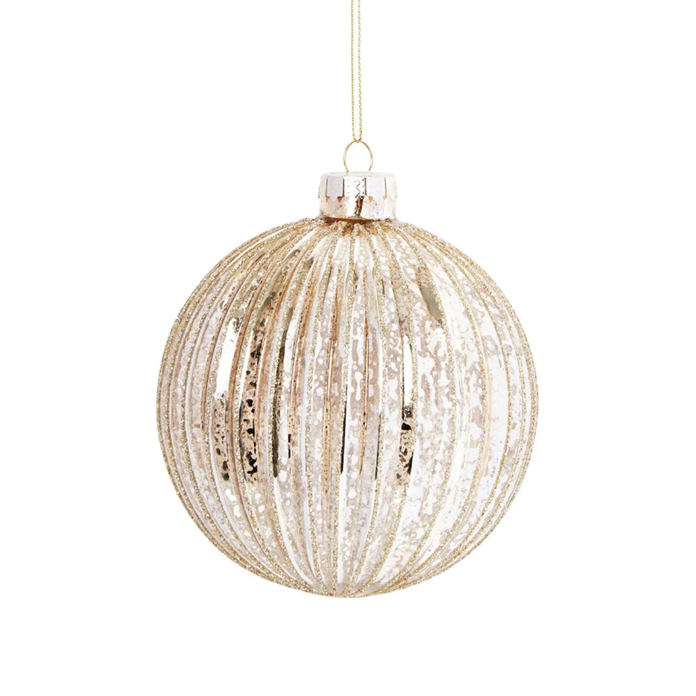 Glitter Ridge Bauble Pale Gold