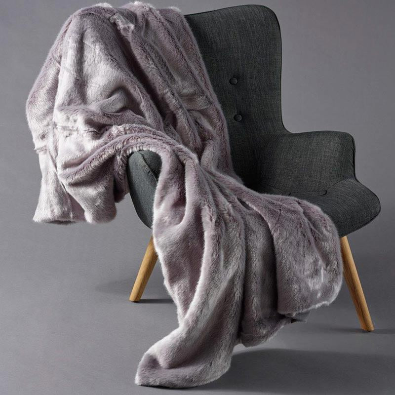 Grey Faux Fur and Velvet Throw