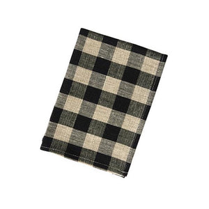 Thick Linen Kitchen Cloth Blk Nat