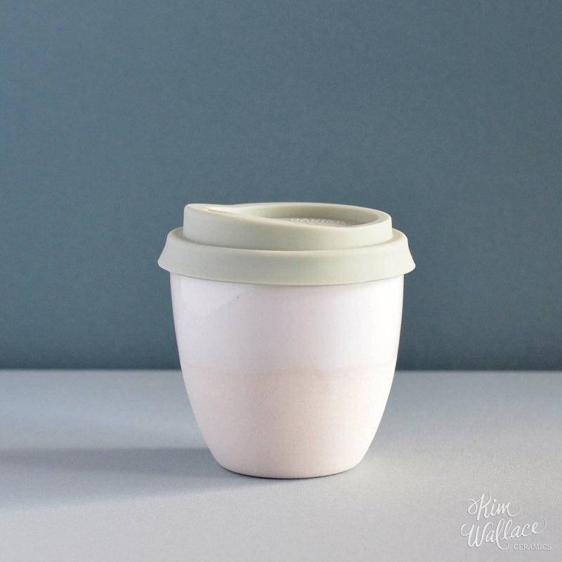 Reusable Takeaway Cup 8oz White/Green Lid
