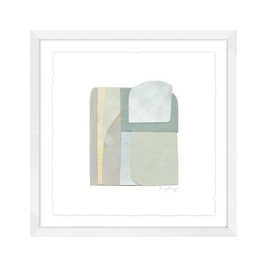simple painted collage print in white frame.