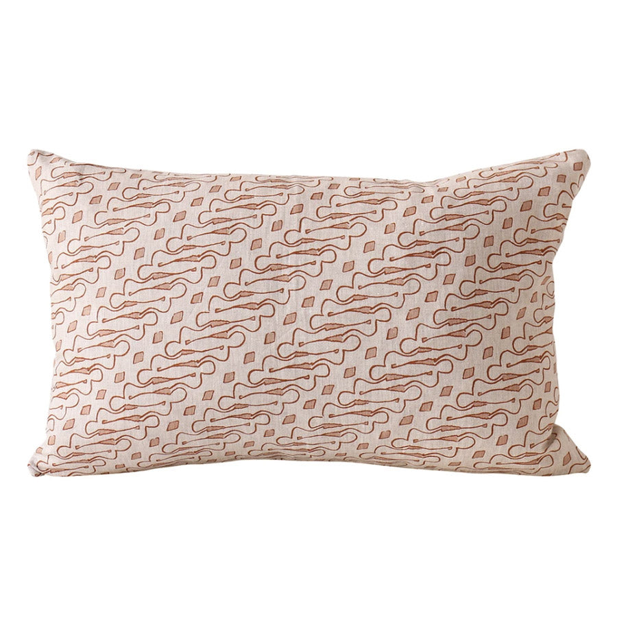 Cushion with natural linen base with pink printed design.