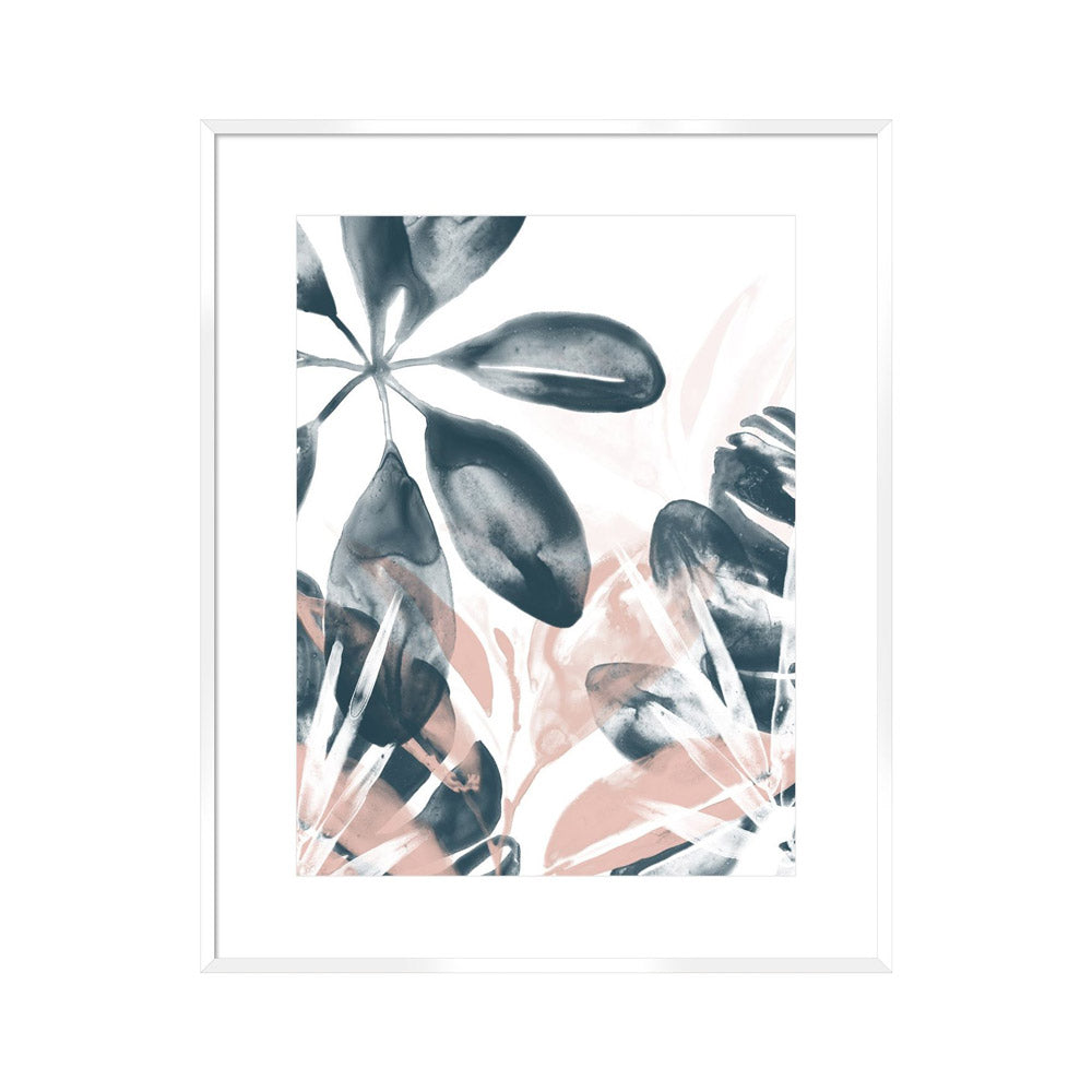 painterly layered leaf design in white frame.