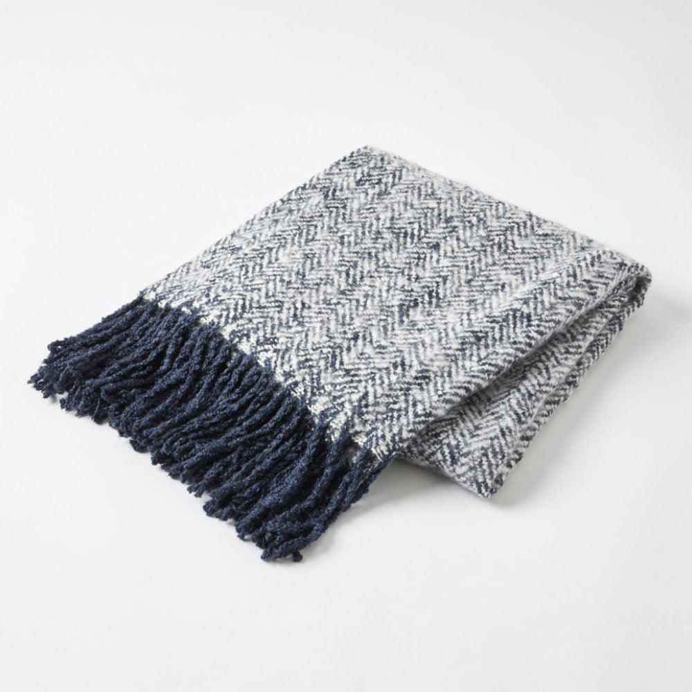 Herringbone Throw Navy