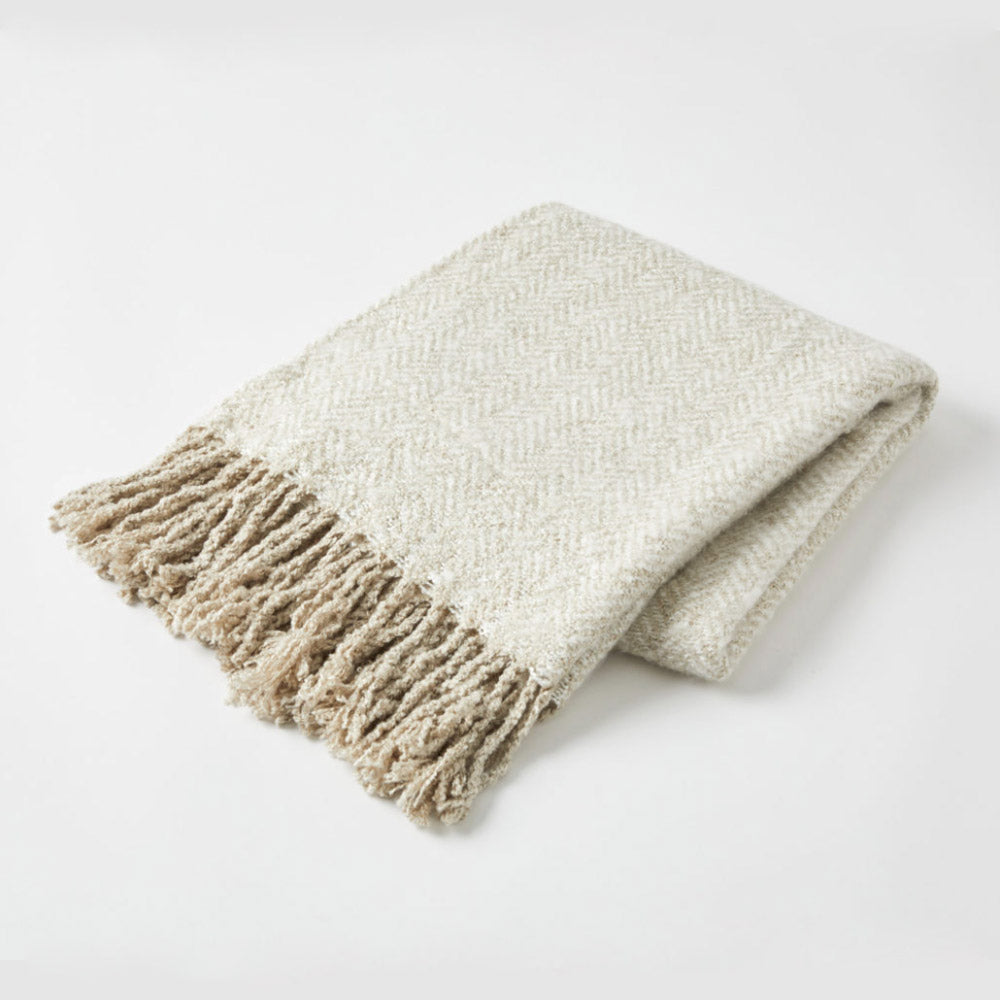 Herringbone Throw Oatmeal