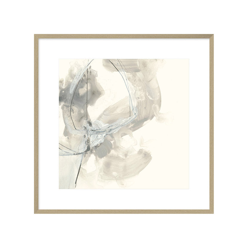 abstract painting in soft greys in wooden frame.