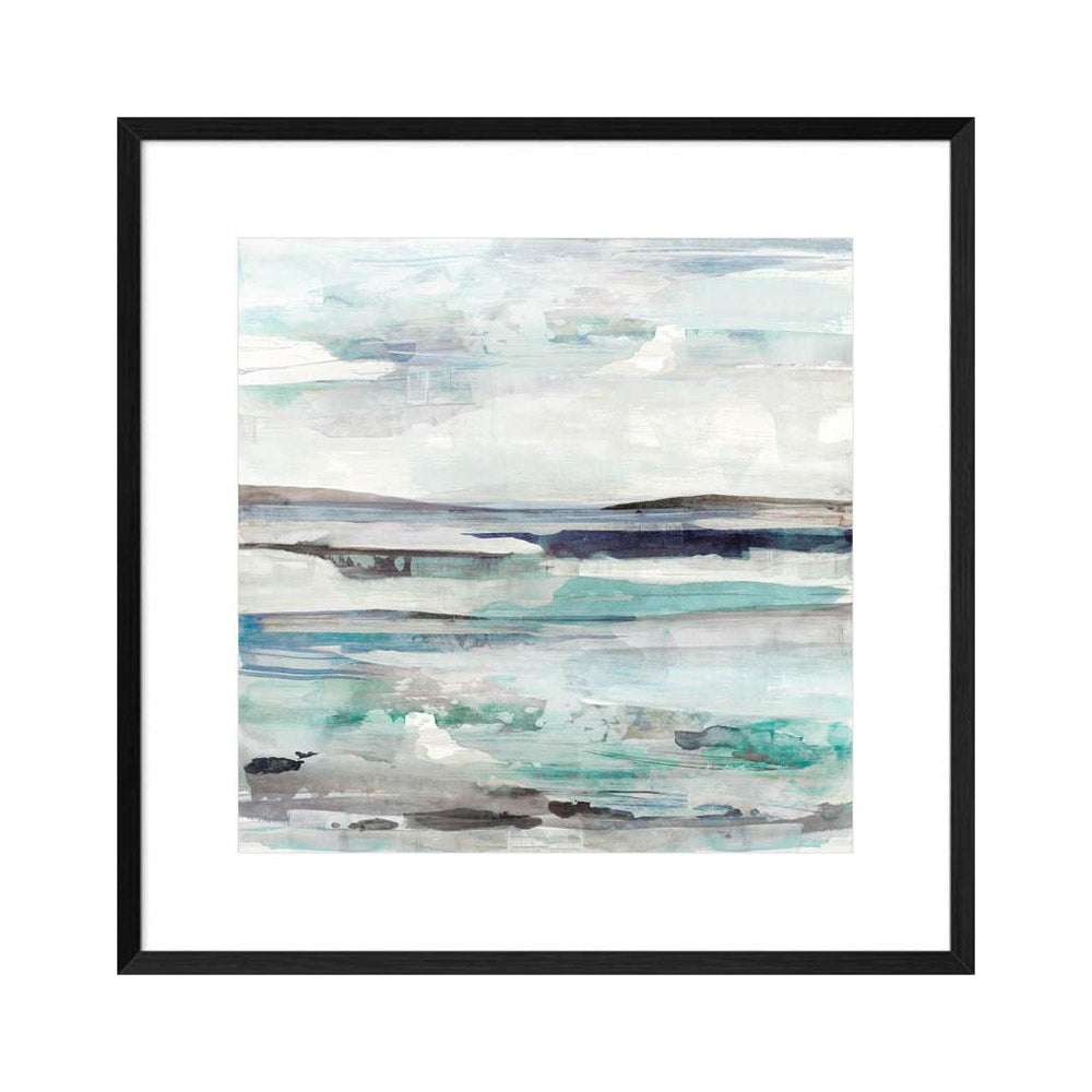 painterly abstract water painting print in a black frame.