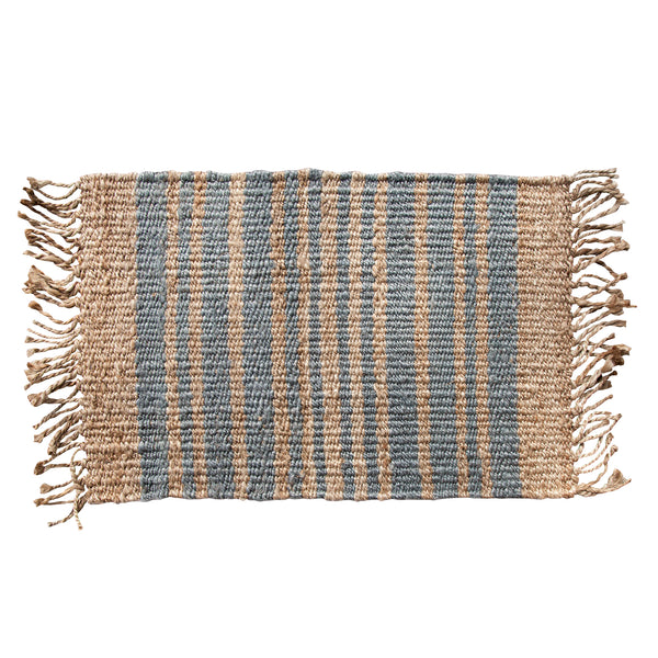 Grey / Silver Stripe Fringed Mat
