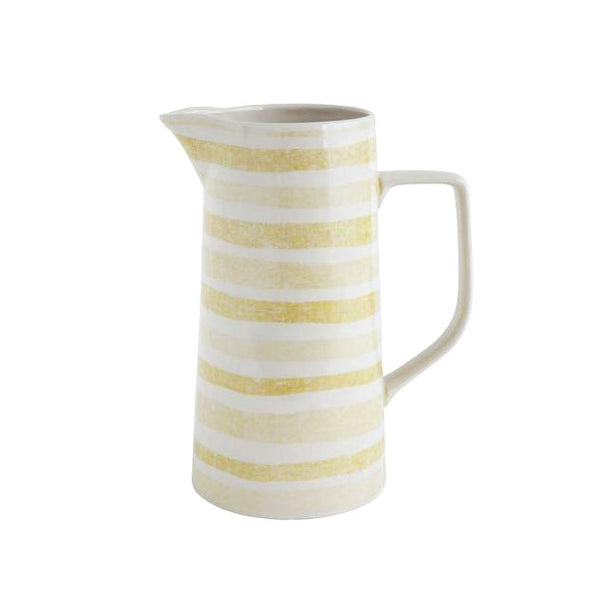 Yellow Stripe Stoneware Pitcher