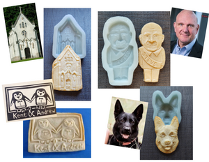 "Custom cookie mold examples. A custom caricature, a custom dog, a custom wedding cookie favor, a custom chapel mold of the Lalande chapel of the popular you tube blog ""The Chateau Diaries"" in France."