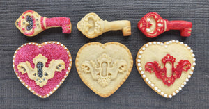 Heart Lock & Key Cookie Silicone Mold Set