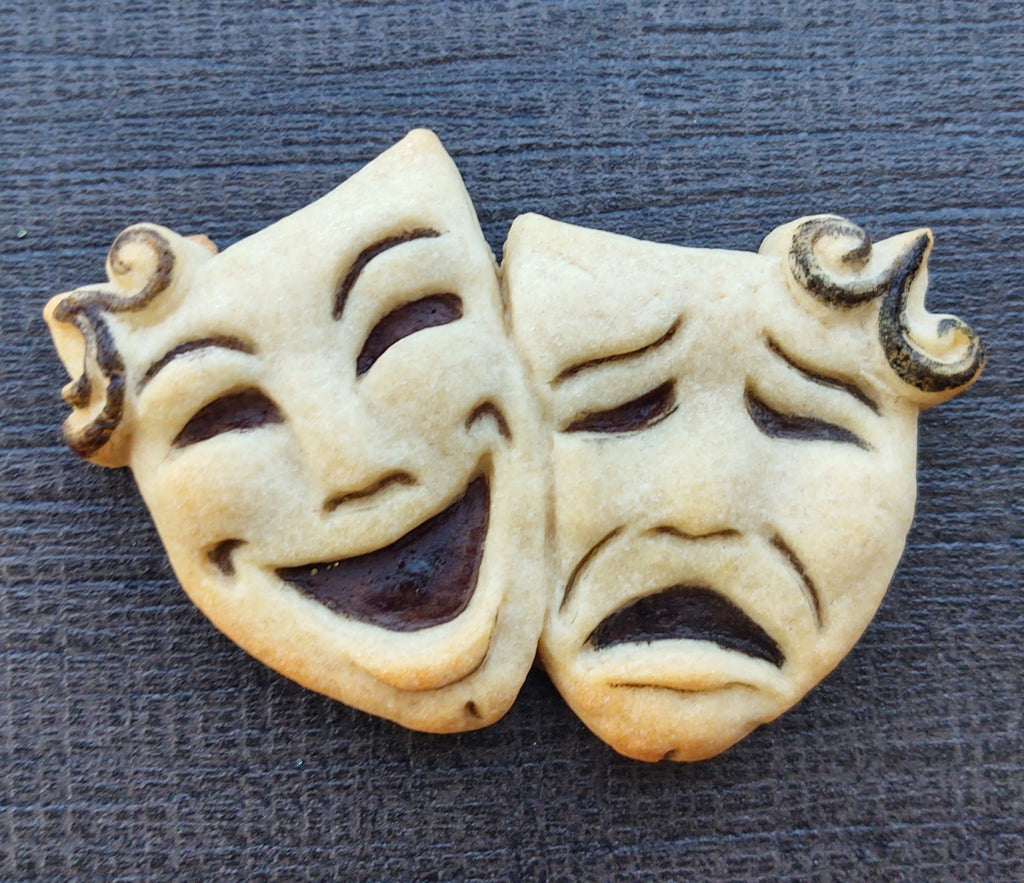 Comedy Tragedy Masks Give Back Silicone Cookie Mold
