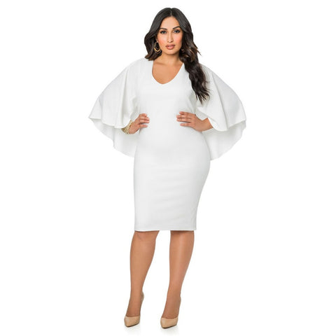 Caly & Kaana 'Charlotte' Plus Cape Bodycon Dress