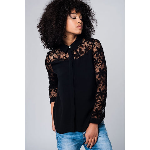 Black Blouse with Lace Details, Shirts, QT Couture