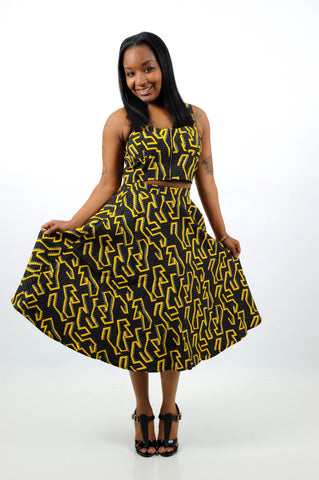 Black & Yellow Geo Print Set, Set, QT Couture