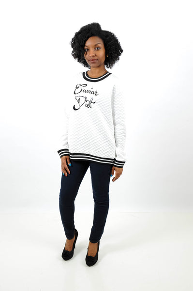 Caviar Diet Quilted Sweatshirt, Tops, QT Couture