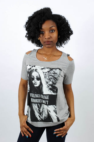 Feelings Change Graphic Jersey Tee, Top, QT Couture